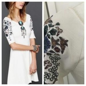 Free People Floral Embroidered Skater Dress
